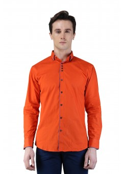 Magnoguy Men's Self Design Red Casual Shirt