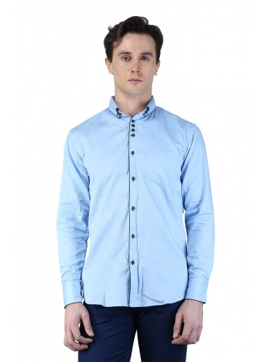 Magnoguy Men's Self Design Casual Light Blue Shirt