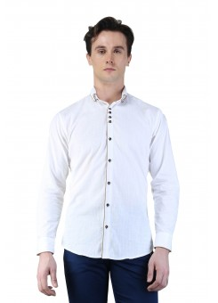 Magnoguy Men's Self Design Casual White Shirt