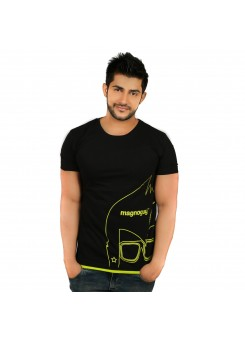 Printed Men's Round Neck Black & Parrot Green  T-Shirt-Magnoguy