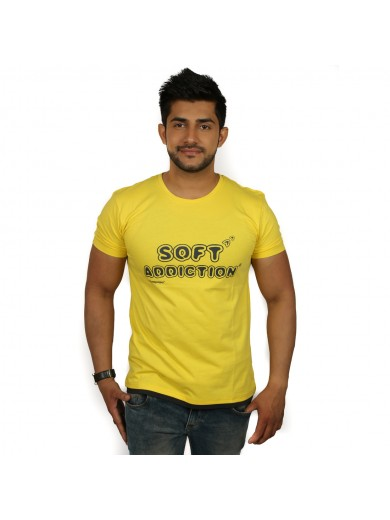 Printed Men's Round Neck Yellow T-Shirt - Magnoguy
