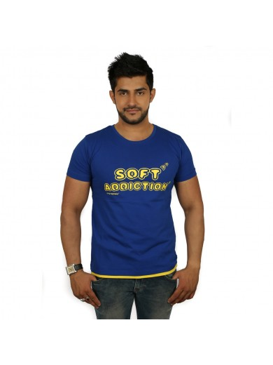 Printed Men's Round Neck Royal Blue & Yellow T-Shirt - Magnoguy