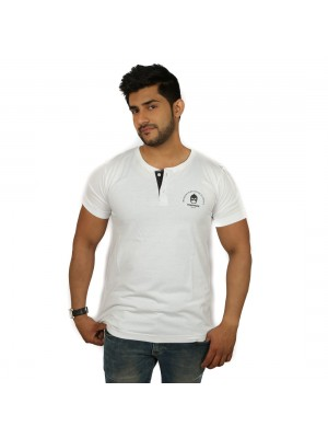 Solid Men's Henley T-Shirt Magnoguy - White