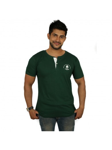 Solid Men Henley Dark Green T-Shirt -Magnoguy