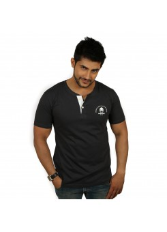 Solid Dark Gray Men's Henley T-Shirt - Magnoguy