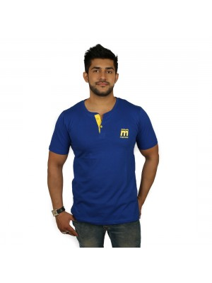 Solid Men's Henley Royal Blue T-Shirt - Magnoguy
