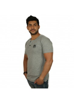 Solid Men's Henley T-Shirt - Magnoguy - Grey