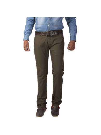 ReFocus Olive Green Casual Trousers for Men