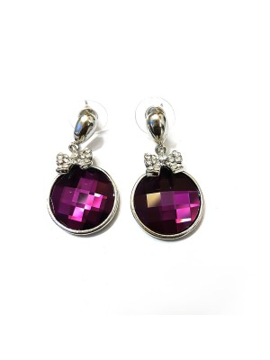 Trendmagnet Sparkling Violet Silver Plated Earrings for Women