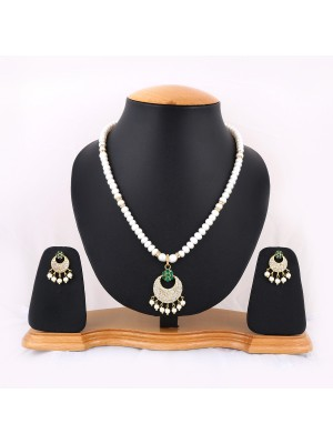 Trendmagnet Natural Pearl & Half Moon Pendant Design Necklace Set