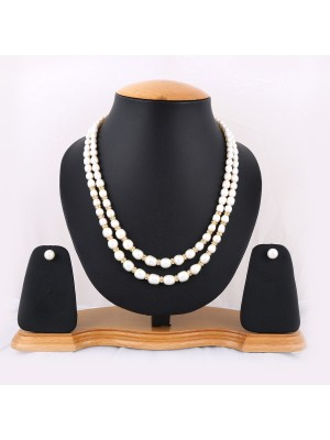 Trendmagnet Natural Pearl Two Liner Design Necklace Set