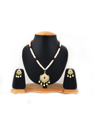 Trendmagnet Natural Pearl & Mangalsutra Pendant Design Necklace Set