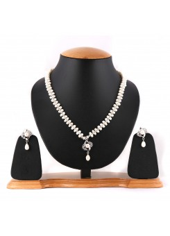 White Pure Pearl Necklace Set-002