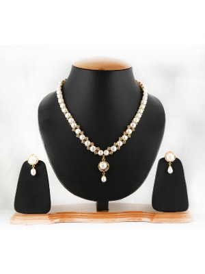 White Hyderabadi Original Pearls Necklace Set-004
