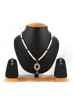 White Pure Pearl Necklace Set-005