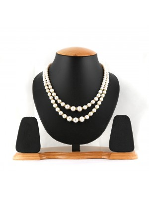 Double Liner Pure White Pearl and Gold Neck-Set-013