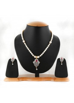 Single Liner White Pearl and Gold Neck-Set-014