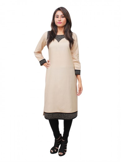Magnogal Beige Kurti For Women RS-7700-L