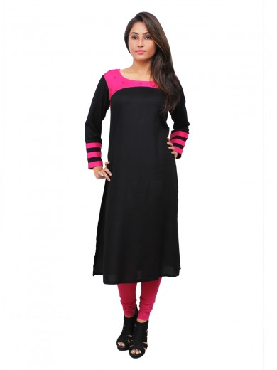 Magnogal Black Kurti For Women RS-7800-L