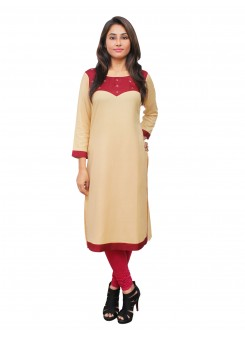 Magnogal Beige Kurti For Women RS-7800-N