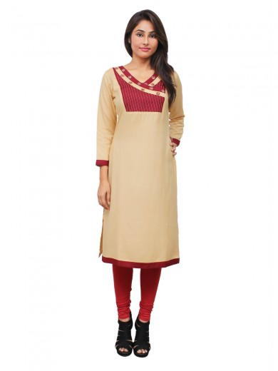Magnogal Beige Kurti For Women RS-7800-Q
